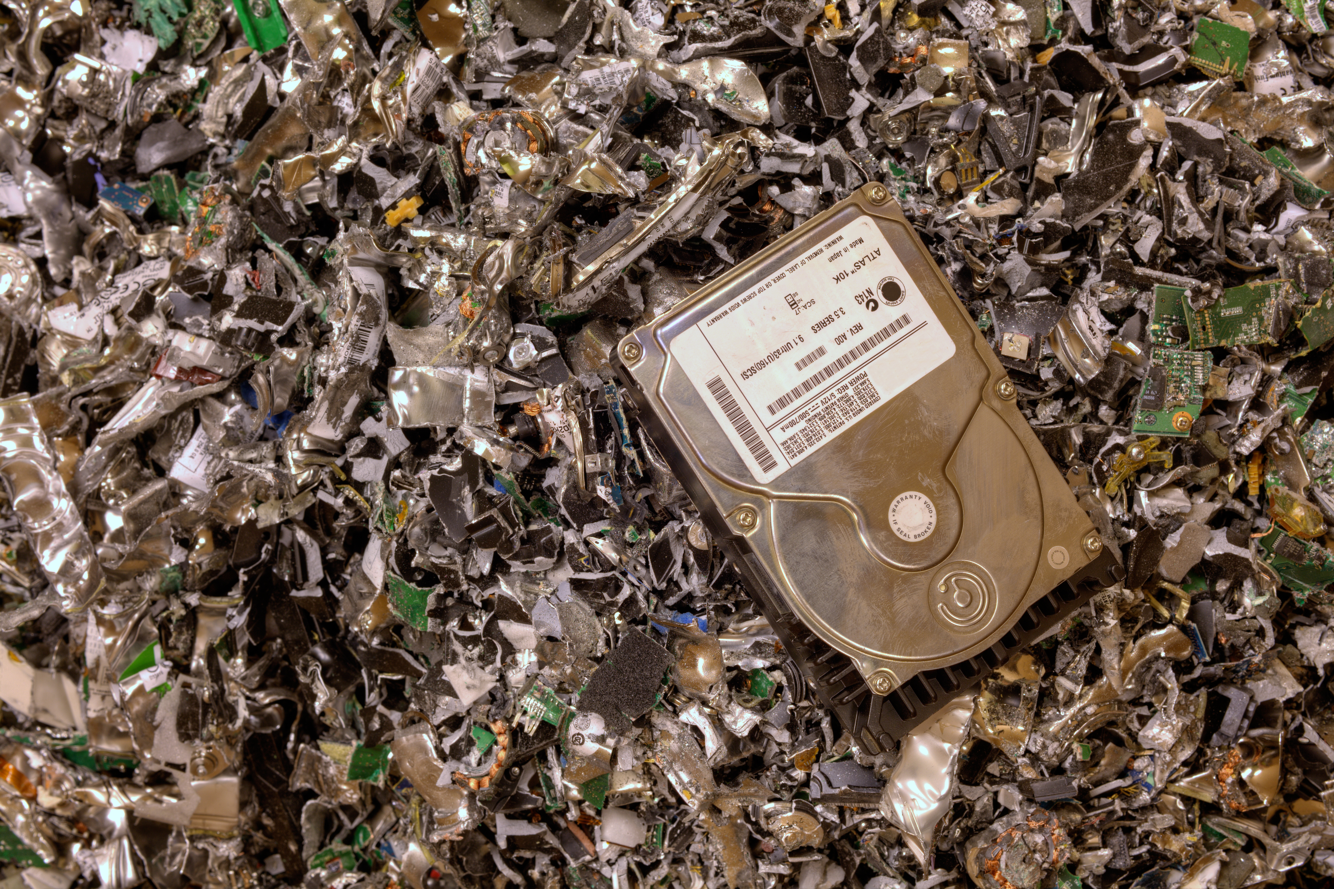 We offer secure data destruction through the use of a hard drive shredder